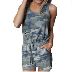 Pants - Camouflage Ripped Shirt Romper